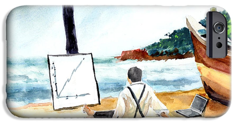 Landscape IPhone 6 Case featuring the painting Contemplation by Anil Nene