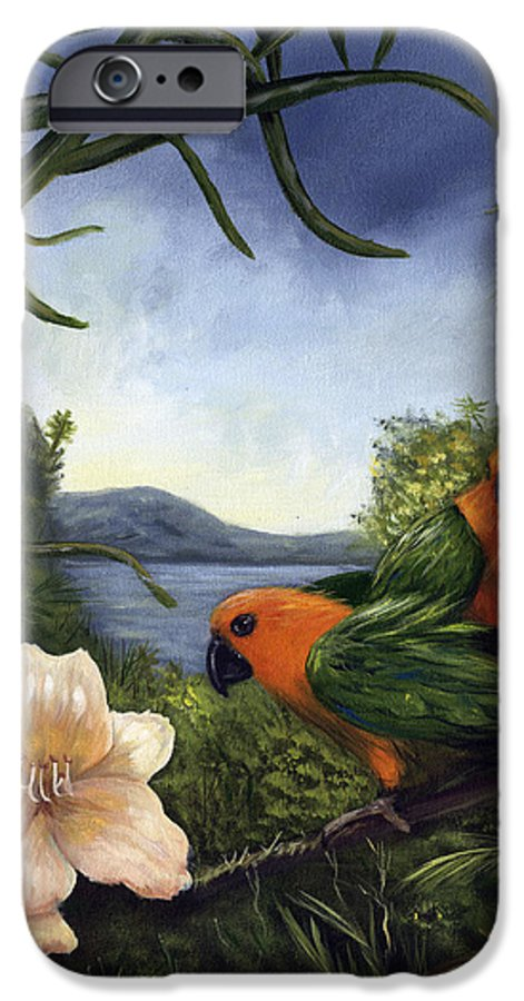 Landscape IPhone 6 Case featuring the painting Conures by Anne Kushnick