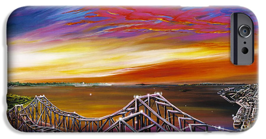 Clouds IPhone 6 Case featuring the painting Cooper River Bridge by James Christopher Hill