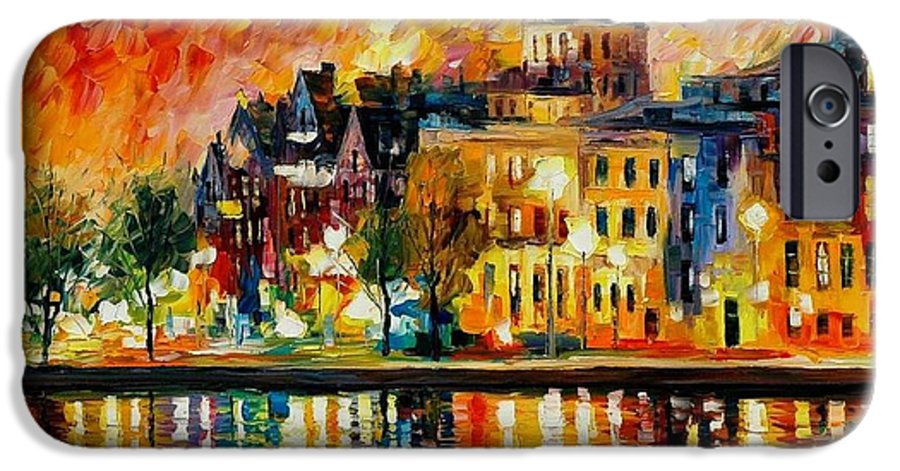 City IPhone 6 Case featuring the painting Copenhagen Original Oil Painting by Leonid Afremov