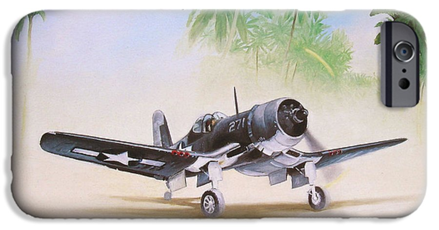 Aviation IPhone 6 Case featuring the painting Corsair Preflight by Marc Stewart