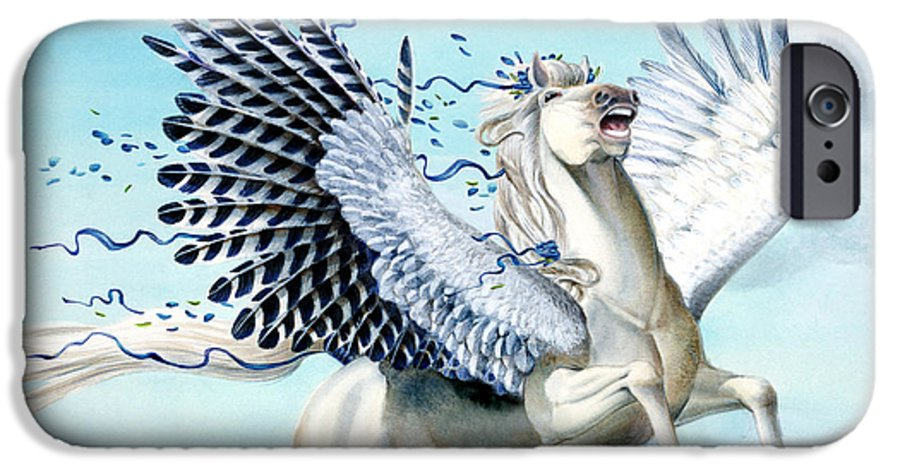 Artwork IPhone 6 Case featuring the painting Cory Pegasus by Melissa A Benson