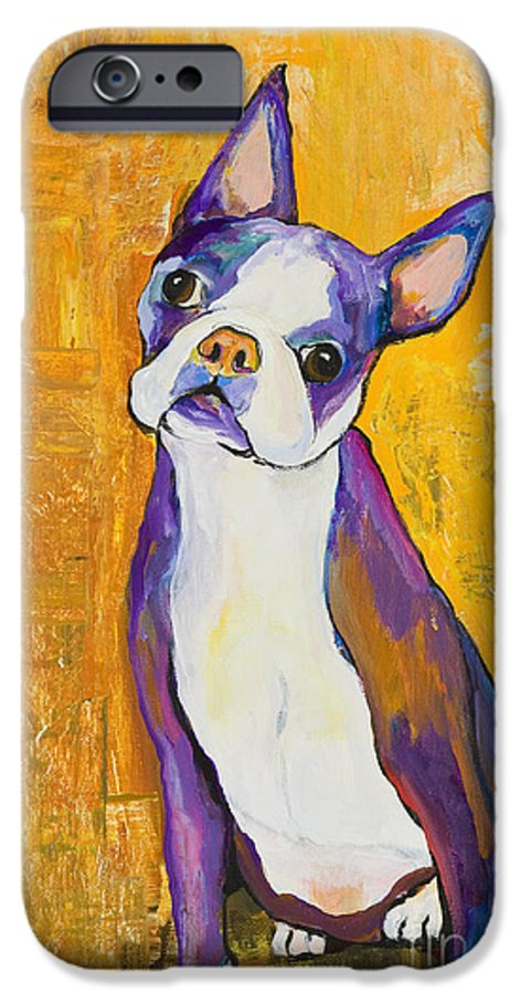 Boston Terrier Animals Acrylic Dog Portraits Pet Portraits Animal Portraits Pat Saunders-white IPhone 6 Case featuring the painting Cosmo by Pat Saunders-White