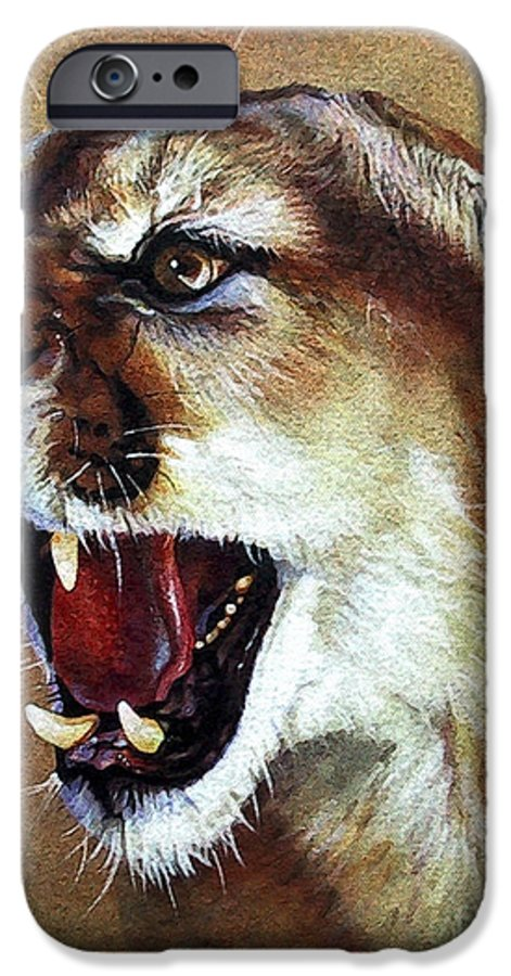 Southwest Art IPhone 6 Case featuring the painting Cougar by J W Baker