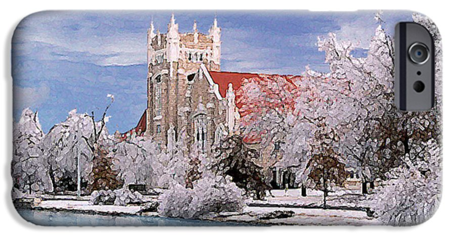 Winter IPhone 6 Case featuring the photograph Country Club Christian Church by Steve Karol