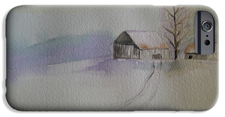 Barn Snow Winter Tree Landscape Cold IPhone 6 Case featuring the painting Country Snow by Patricia Caldwell