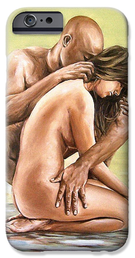 Nude IPhone 6 Case featuring the painting Couple by Natalia Tejera