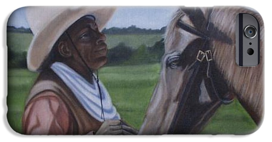 Portrait IPhone 6 Case featuring the painting Cowboy2 by Toni Berry
