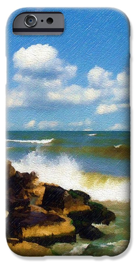 Seascape IPhone 6 Case featuring the photograph Crashing Into Shore by Sandy MacGowan