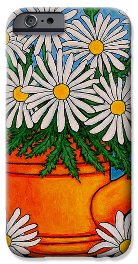 Daisies IPhone 6 Case featuring the painting Crazy For Daisies by Lisa Lorenz