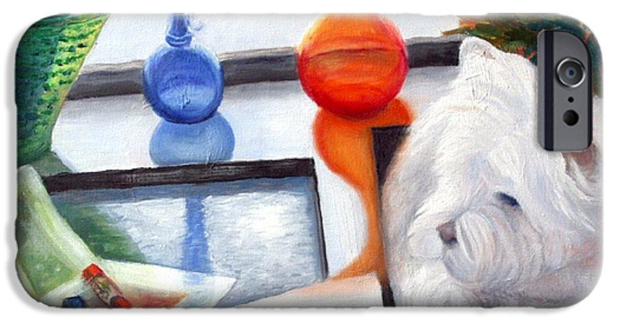 Dog IPhone 6 Case featuring the painting Creative Reflections by Minaz Jantz