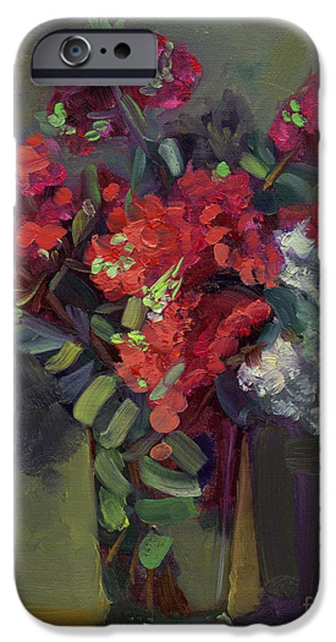 Floral IPhone 6 Case featuring the painting Crepe Myrtles In Glass by Lilibeth Andre