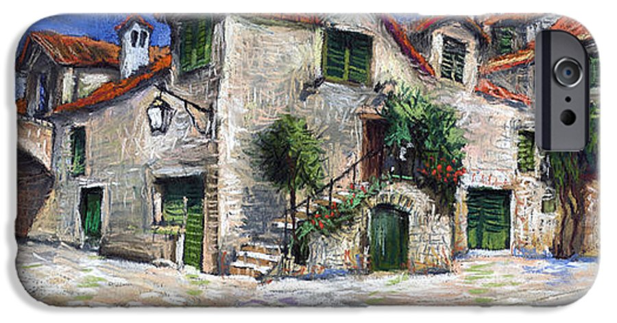 Pastel On Paper IPhone 6 Case featuring the painting Croatia Dalmacia Square by Yuriy Shevchuk