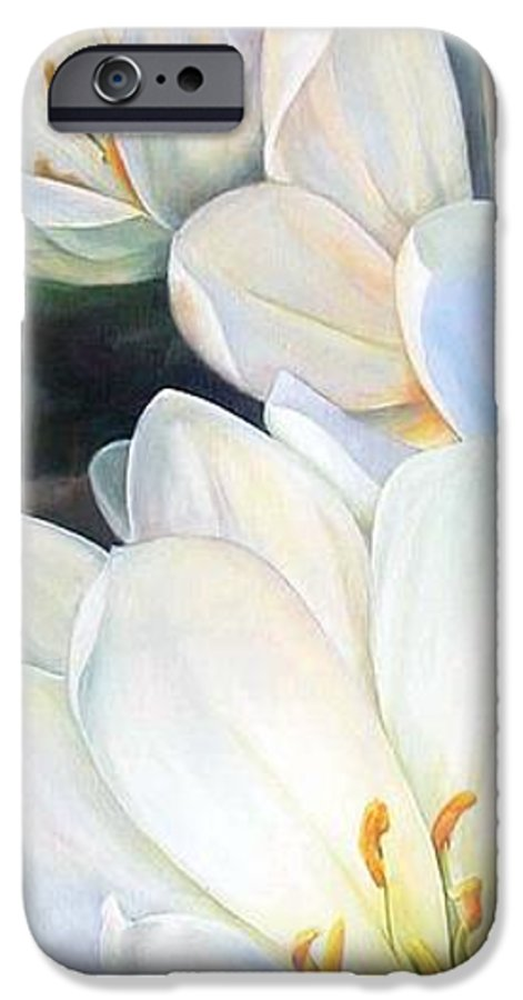 Floral Painting IPhone 6 Case featuring the painting Crocus by Muriel Dolemieux