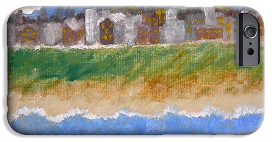 Seascape IPhone 6 Case featuring the painting Crowded Beaches by R B