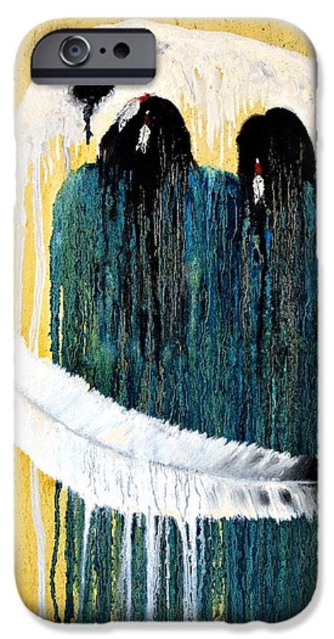 Native American IPhone 6 Case featuring the painting Crying For A Vision by Patrick Trotter