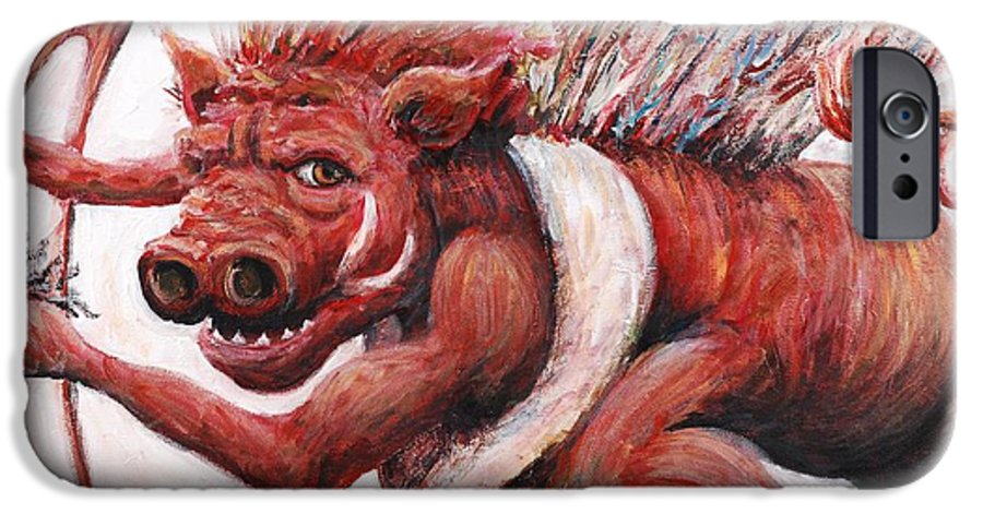 Pig IPhone 6 Case featuring the painting Cupig by Nadine Rippelmeyer