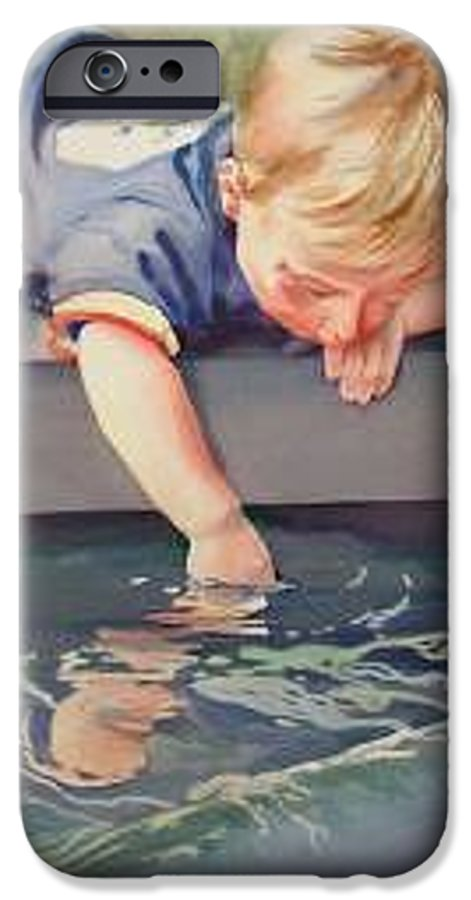 Boy Playing In Water IPhone 6 Case featuring the painting Curious by Marlene Gremillion