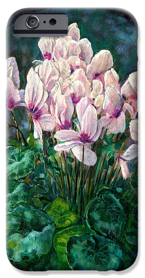 Cyclamen Flowers IPhone 6 Case featuring the painting Cyclamen In Orbit by John Lautermilch