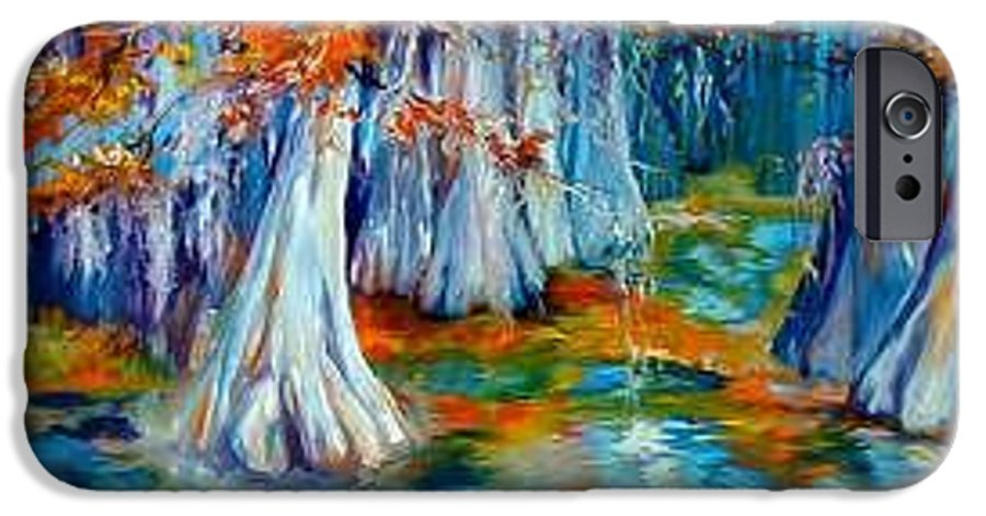 Tree IPhone 6 Case featuring the painting Cypress Trees Along The Bayou by Marcia Baldwin