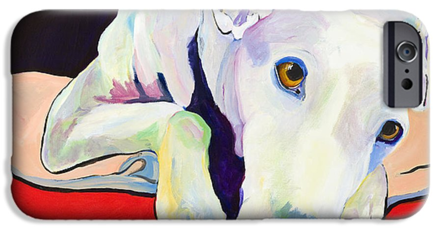 Animals Pets Greyhound IPhone 6 Case featuring the painting Cyrus by Pat Saunders-White