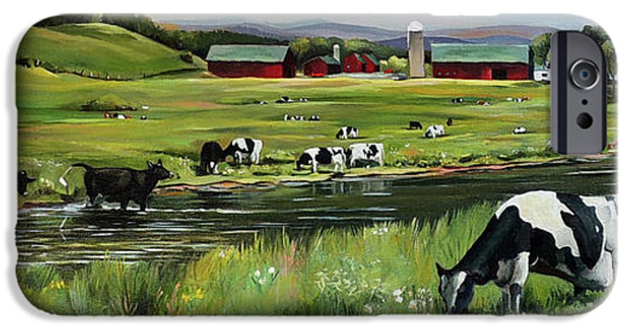 Landscape IPhone 6 Case featuring the painting Dairy Farm Dream by Nancy Griswold