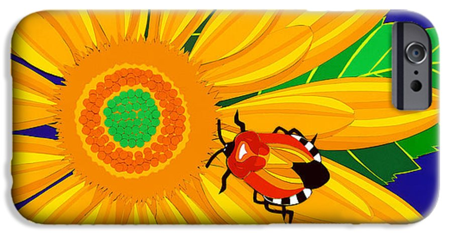 Nature IPhone 6 Case featuring the drawing Daisy And Shieldbug by Lucyna A M Green
