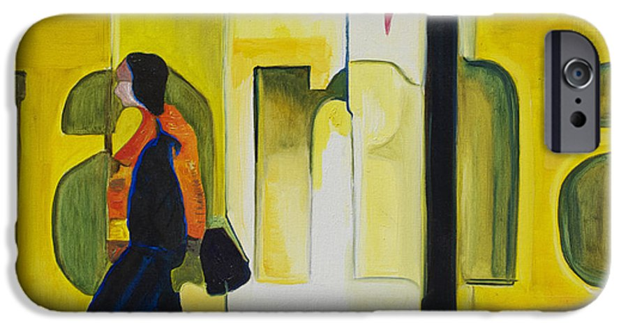 Abstract IPhone 6 Case featuring the painting Dam Shopper by Patricia Arroyo
