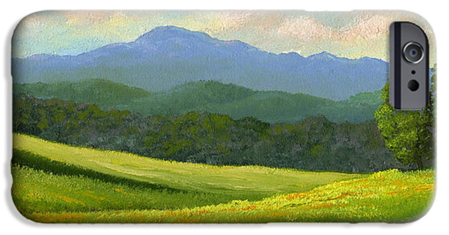 Landscape IPhone 6 Case featuring the painting Dandelion Meadows by Frank Wilson
