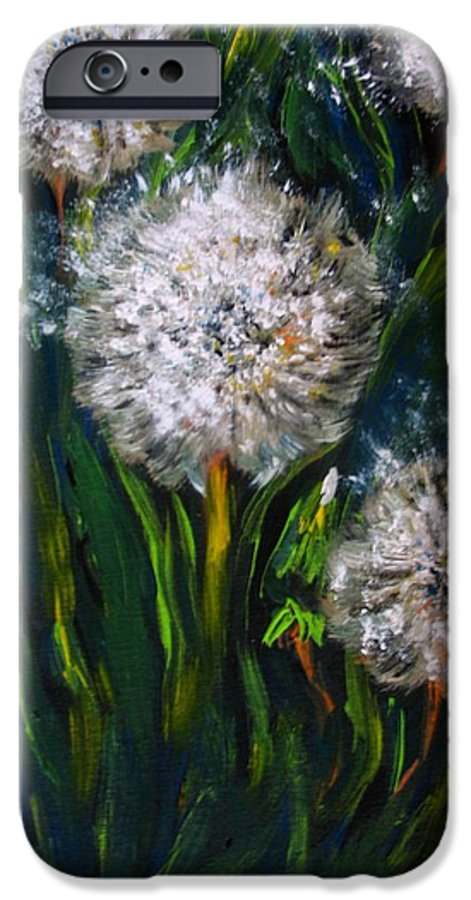 Flower Art IPhone 6 Case featuring the painting Dandelions Acrylic Painting by Natalja Picugina