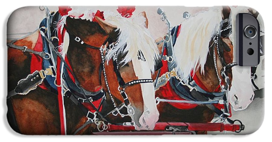 Horse IPhone 6 Case featuring the painting Dandy Duo by Jean Blackmer