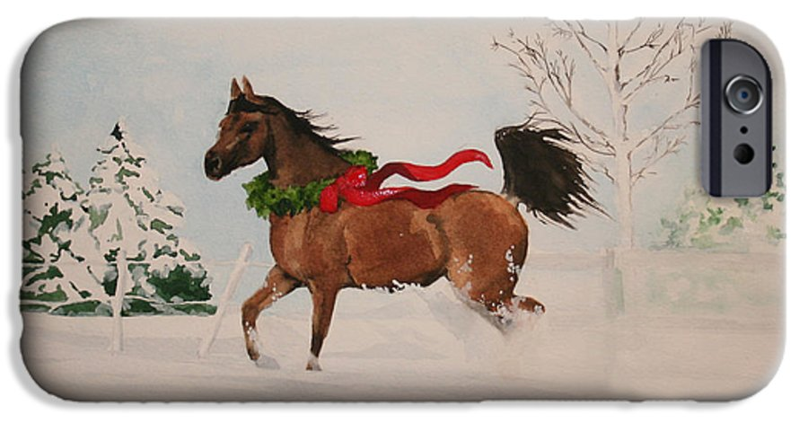 Horse IPhone 6 Case featuring the painting Dashing Thru The Snow by Jean Blackmer