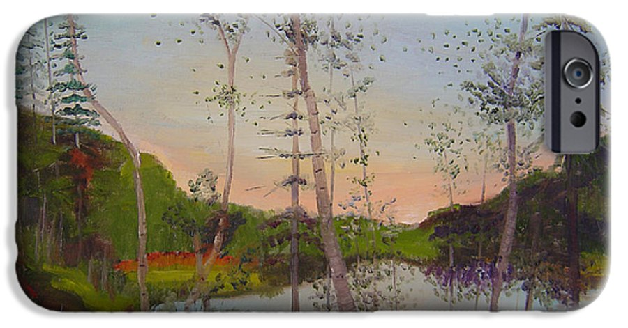 Landscape IPhone 6 Case featuring the painting Dawn By The Pond by Lilibeth Andre