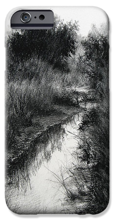 Charcoal IPhone 6 Case featuring the drawing Dawn Marsh by Keith Burgess