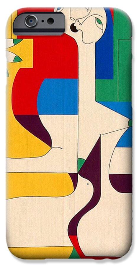Women Birds Music Guitar Flower Humor Voice IPhone 6 Case featuring the painting De Sopraan by Hildegarde Handsaeme