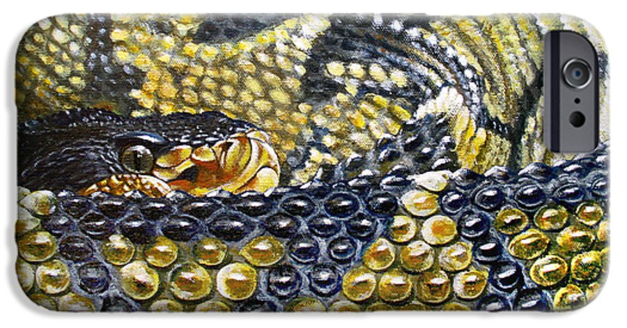 Snake IPhone 6 Case featuring the painting Deadly Details by Cara Bevan