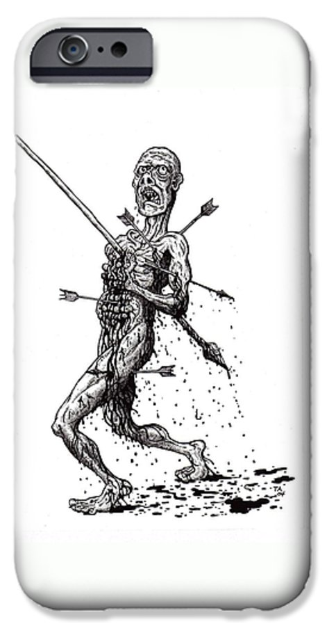 Dark IPhone 6 Case featuring the drawing Death March by Tobey Anderson
