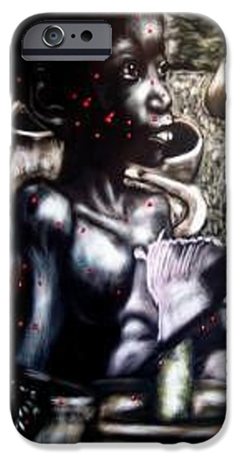 Commentary IPhone 6 Case featuring the mixed media Death Of A Thousand Cuts by Chester Elmore