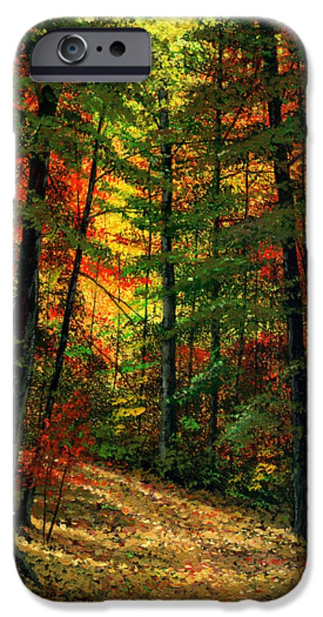 Landscape IPhone 6 Case featuring the painting Deep In The Forest by Frank Wilson