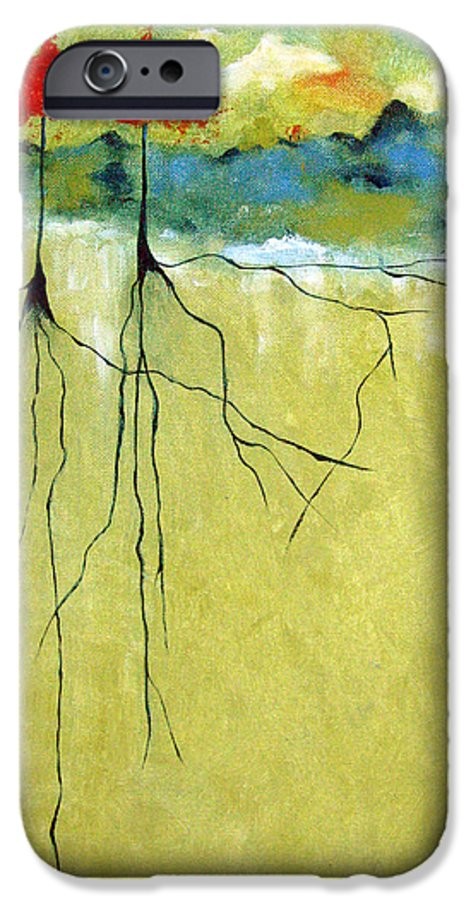 Abstract IPhone 6 Case featuring the painting Deep Roots by Ruth Palmer