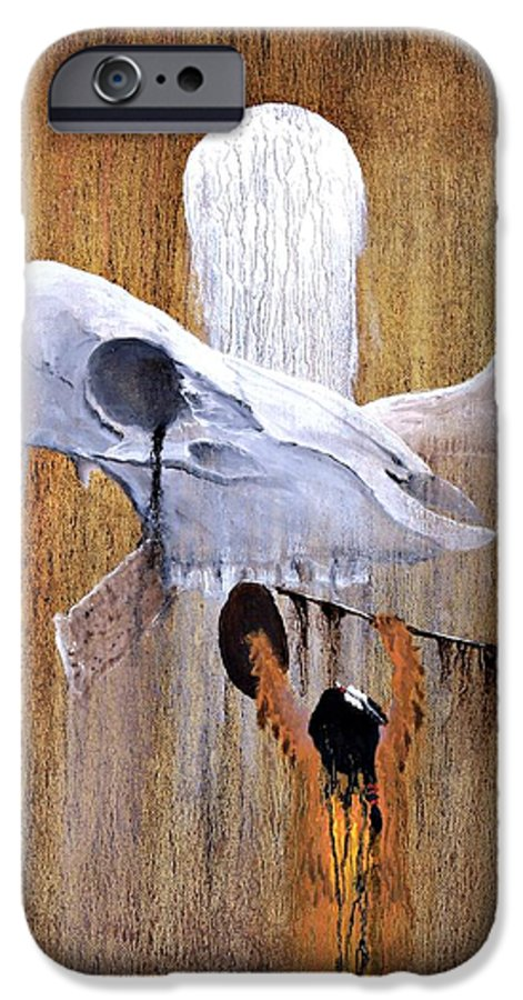 American Indian IPhone 6 Case featuring the painting Deer Song by Patrick Trotter