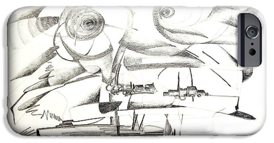 Abstract IPhone 6 Case featuring the drawing Delire by Muriel Dolemieux