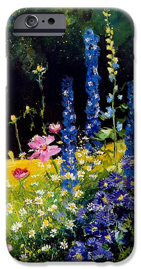 Poppies IPhone 6 Case featuring the painting Delphiniums by Pol Ledent