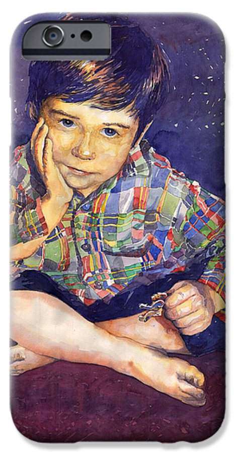 Watercolor Watercolour Portret Figurativ Realism People Commissioned IPhone 6 Case featuring the painting Denis 01 by Yuriy Shevchuk