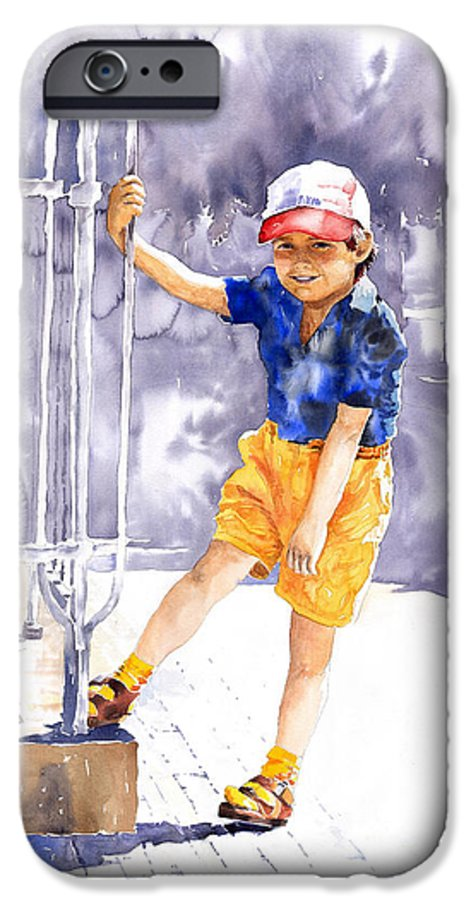 Watercolor Watercolour Figurativ Portret IPhone 6 Case featuring the painting Denis 02 by Yuriy Shevchuk