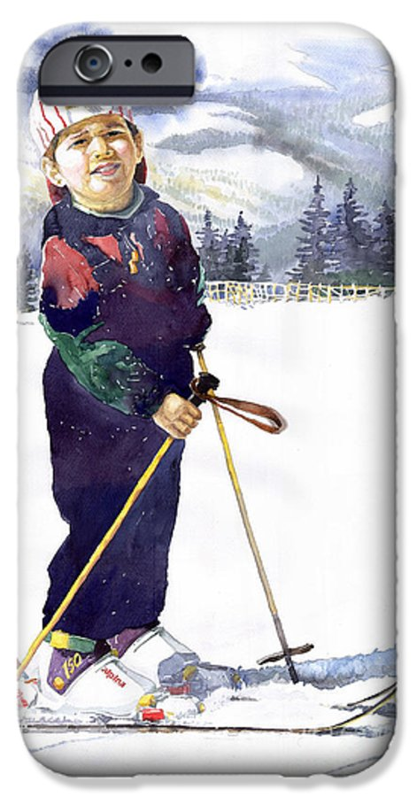 Watercolor Watercolour Figurative Ski Children Portret Realism IPhone 6 Case featuring the painting Denis 03 by Yuriy Shevchuk