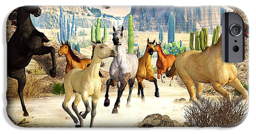 Horses IPhone 6 Case featuring the photograph Desert Horses by Peter J Sucy