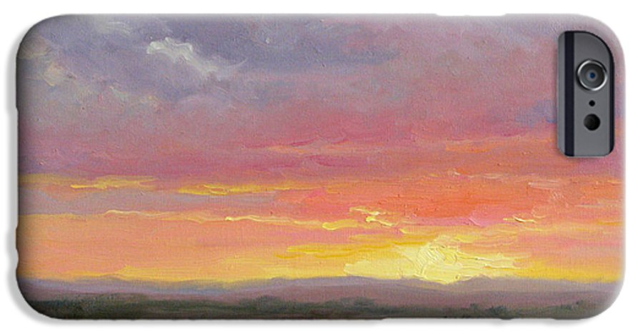 Sunset IPhone 6 Case featuring the painting Desert Sundown by Bunny Oliver