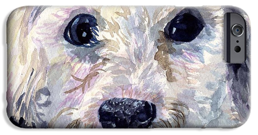 Bichon Frise IPhone 6 Case featuring the painting Did You Say Lunch by Sharon E Allen