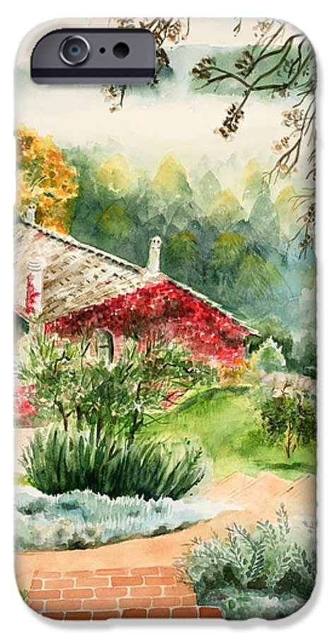View Of Pathway To Red Cottage And Mountains In Mist IPhone 6 Case featuring the painting Dievole Vineyard In Tuscany by Judy Swerlick